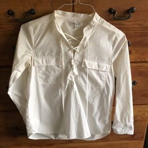Long sleeve lace up cotton shirt